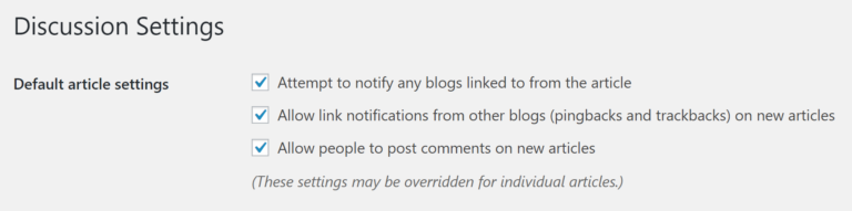 "Pastikan pilihan kedua ""Allow link notifications from other blogs (pingbacks and trackbacks) on new articles"" aktif."