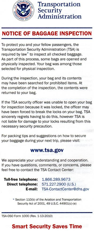 Notice of Baggage Inspection